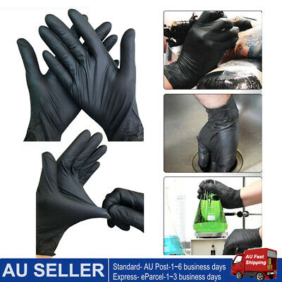 100x BLACK DISPOSABLE NITRILE GLOVES THICK MECHANIC INDUSTRIAL HEAVY DUTY RUBBER
