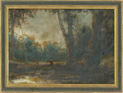 C.W - Framed Late 19th Century Oil, River Landscape with Figure