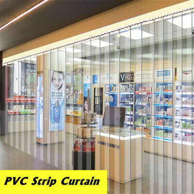 200X18X0.19cm Freezer Room PVC Plastic Strip Curtain Door Kit Hanging Rail AU