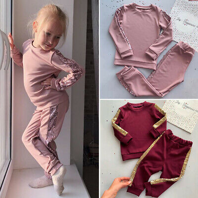 Toddler Baby Girls Clothes Sequin T-shirt Tops Leggings Pants Outfits Tracksuit