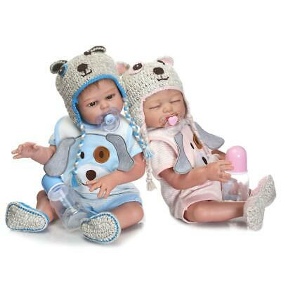 "2Pcs Newborn Twins Dolls 20"" Boy Girl Full Body Silicone Vinyl Reborn Baby Doll"