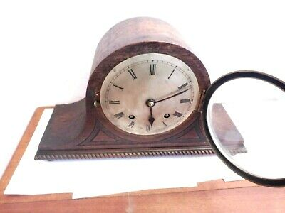 Antique Bentwood Napoleon Hat Shaped Wooden Cased Mantle Clock