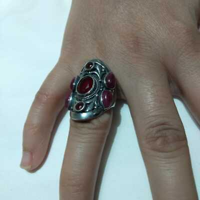 Ancient Antique Victorian Silver RING With Beautiful Ruby Stone old vintage