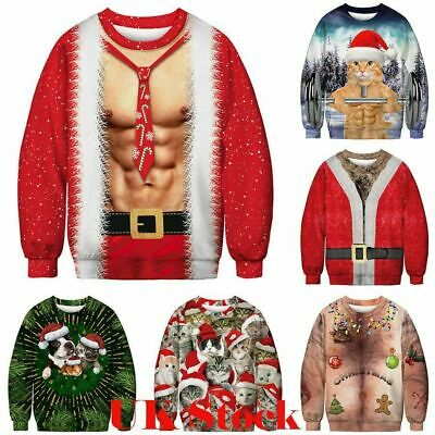 Men Women Casual Christmas Ugly Sweatshirt Sweater Holiday Pullover Party Top US