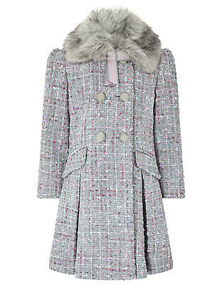 Monsoon Girls Tabitha Classic Tweed Bow Sparkle Dress Coat Age 9 to 10 Years New