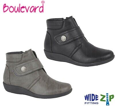 LADIES Zip Strap Padded  Ankle Boots Wide EE Fit - Black Grey Size 3 4 5 6 7 8 9