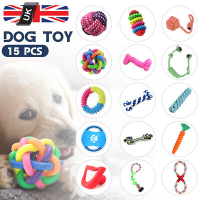 15PCS Tough Dog Toys Bundle Chew Rope Knot Ball Squeakers Pet Puppy Teething Toy