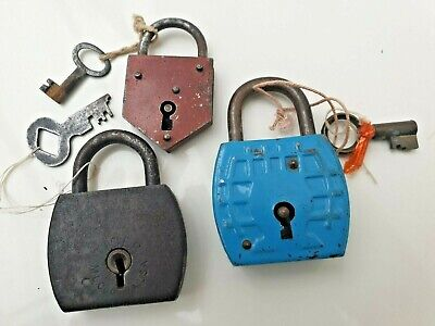 Collection 3 Rare Vintage 1930s Padlocks with Working Keys