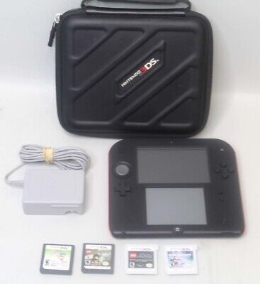 Nintendo 2DS Handheld Console - Black Red TESTED FTR-001 w/ 4 Games