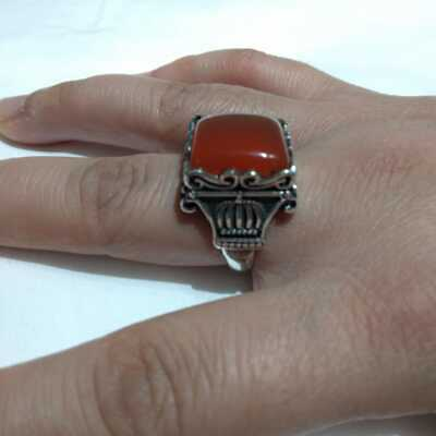 Ancient Antique Victorian Silver RING Rare Beautiful AGATE Stone old vintage