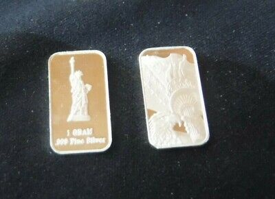 1 gram silver bar STATUE OF LIBERTY 1g Solid Silver Bullion .999 Purity FREE P&P