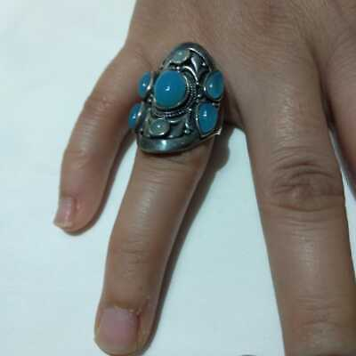 Ancient Antique Victorian Silver RING With Beautiful Aquamarine Stone vintage
