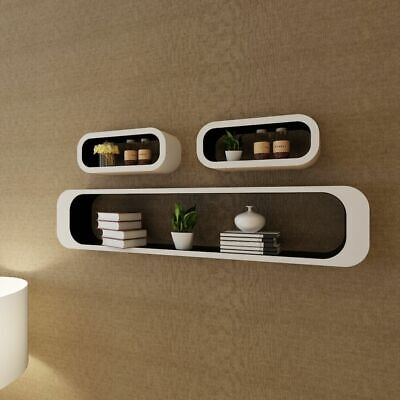 3 MDF Floating Cubes Wall Storage Book CD Display Shelves Square White-black