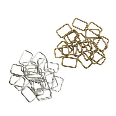 40Pcs Antique Silver Bronze Square Buckles Webbing Rings for Bag Accessories