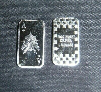1 gram silver bar Ace of diamonds 1g Solid Silver Bullion .999 Purity FREE POST