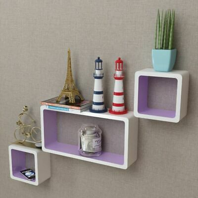 3 MDF Floating Cubes Wall Storage Book CD Display Shelves Square White-purple