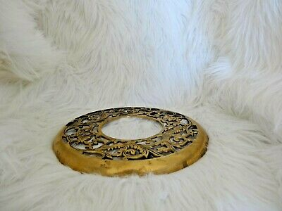 """Vintage Brass Ornate Plant Stand Rolling Caddy W// Floral Design 11/"""" Taiwan"""