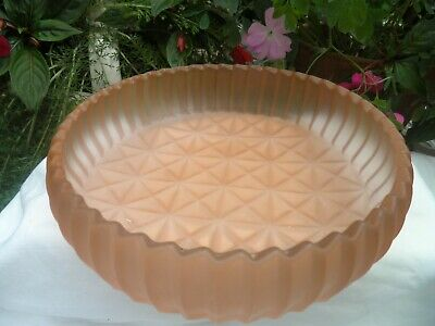 Art Deco Sowerby Glass Frosted Salmon Pink Flower Bowl  8 inch - 'lattice' base