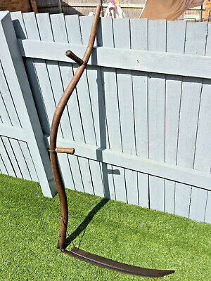 "Old Ash Handle Vintage Hand Held Grass Corn Cutting Scythe 60"" Long"