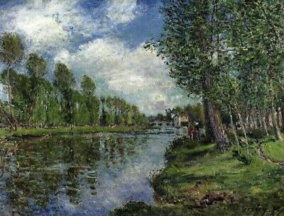 Landscape Painting Print on Canvas Banks Of The Loing River Alfred Sisley Small