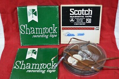 "7"" Reel to Reel Magnetic Recording Tape Lot GE Scotch Sony Shamrock Box Vintage"
