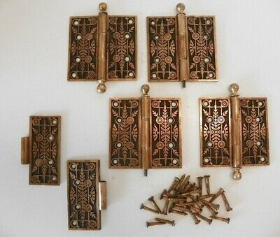 "Vintage Eastlake Victorian 4 1/2"" Ornate Door Hinges, Bronze / Brass, Beautiful"