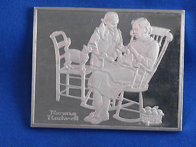 1973 Franklin Mint Norman Rockwell Knitting Lesson Sterling Silver Medal B3569
