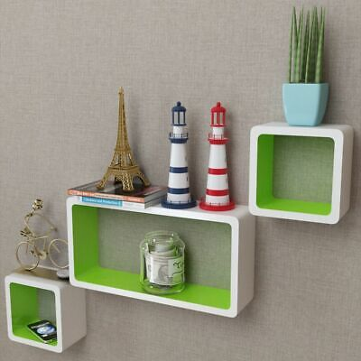 3 MDF Floating Cubes Wall Storage Book CD Display Shelves Square White-green~