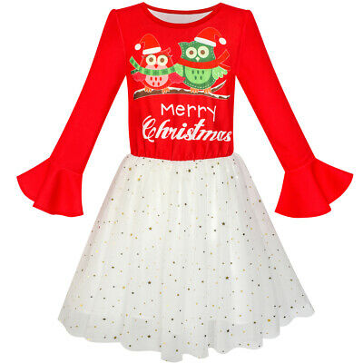 Girls Dress Long Sleeve Christmas Owl Sparkling Sequin Tulle Age 5-12 Years
