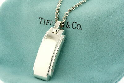"""Tiffany & Co. Metropolis Pendant Necklace Sterling Silver Rectangle 24"""" Chain"""