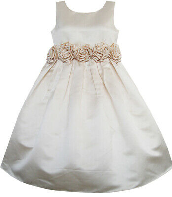 Girls Dress champagne Shinning Wedding Pageant Bridesmaid Kids Clothes Size 4-12