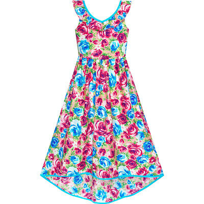 Girls Dress Flower Cotton Casual Summer Beach Holiday Age 6-12 Years Pageant