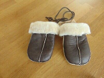 Nordvek Puddy 100% Sheepskin Baby Mittens Childs Chocolate Forest Brand New