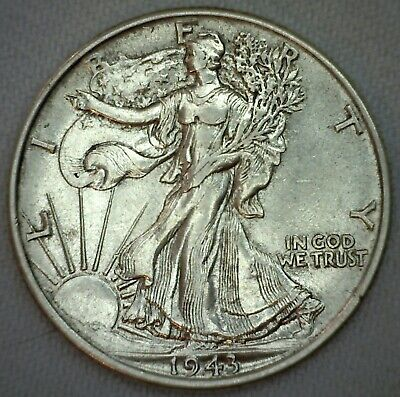 1943 Walking Liberty Silver Half Dollar Coin US 50c AU Almost UNC Fifty Cents