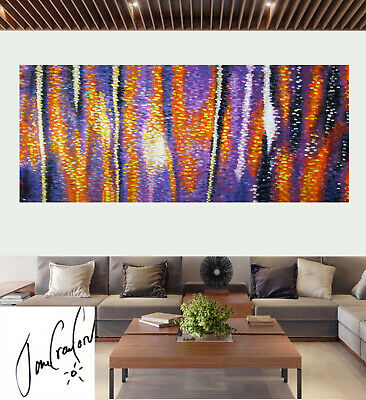 """oil Painting Australia abstract Art dot non aboriginal large sunset dreaming 83"""""""