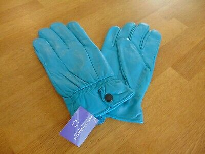Moonbeck Leather Gloves Ladies Blue Jade Size Large Brand New Soft Leather