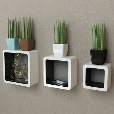 3 MDF Floating Cubes Wall Storage Book CD Display Shelves Square White-black#