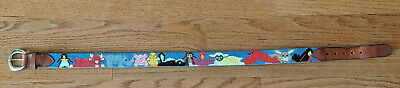 Vtg Dan Place Needlepoint & Leather Belt Animals: Pig, Duck, Lamb, Rabbit & More