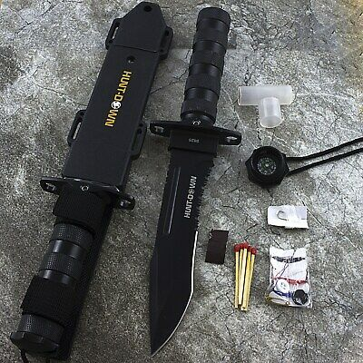 "12"" HUNTING KNIFE w/ TACTICAL SURVIVAL KIT Bowie Fixed Blade Drop Point Combat"