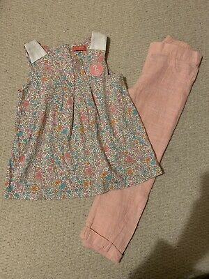 NEXT Girls Ditsy Floral Tunic Top And Linen Trousers Set *NEW* Age 4-5 Years