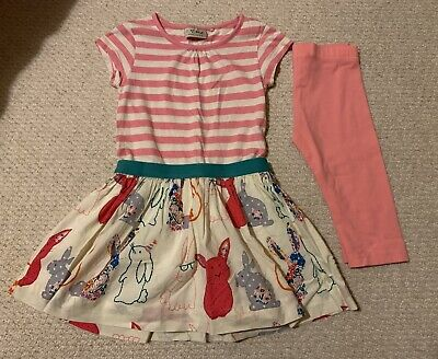 NEXT Pink Striped Bunny Tunic Dress Cropped Leggings Outfit Set Age 4-5 Years