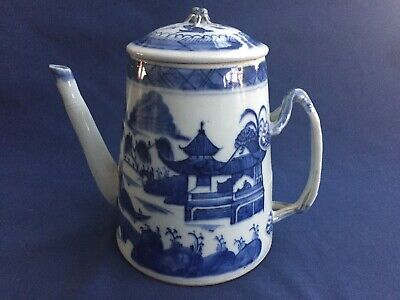 Antique Chinese Export Blue & White Canton Lighthouse Coffee Tea Pot