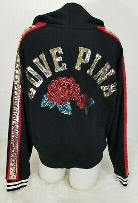 VICTORIA'S SECRET PINK Black w Ugly X Mas Sweater Wide Logo