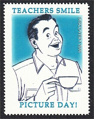 Teacher's Smile Picture Day Man with Coffee Fantasy Stamp Artistamp by BoltPost