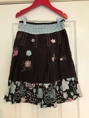 Girl's NEXT Skirt Brown/Pink/Aqua Floral, Size 6