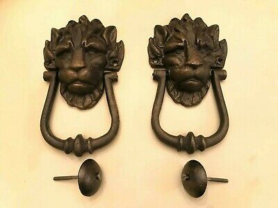 2 Black Cast Metal Iron Lion's Head Door Knocker 10 Downing Street Door Knockers
