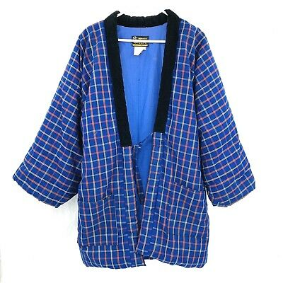 Vintage Made in Japan Quilted Kimono Coat Smoking Jacket Robe Sz M Blue Robe