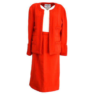 CHANEL 9 #36 Front Opening Set Up Suit Jacket Skirt Red Authentic AK40189
