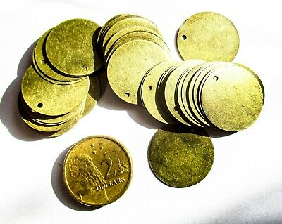 Metal Tags blank stamping, round20mmD antique bronze for identifiers, charms