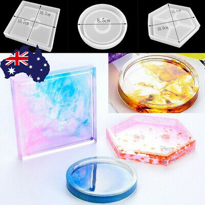 Coaster Resin Casting Mold Epoxy Mould Silicone Jewelry Agate Making Tool Craft.